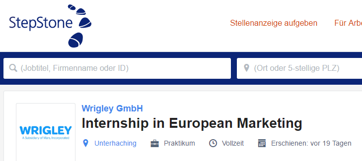 Germana-Joburi engleza Germania Wrigley internship marketing