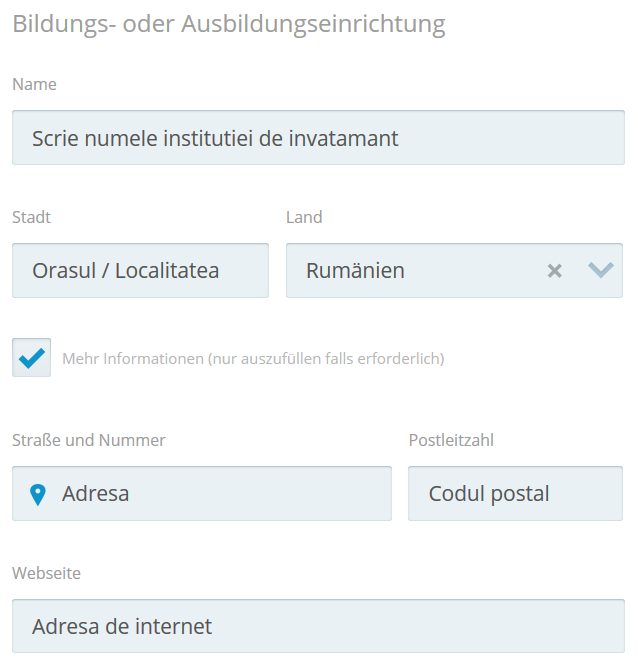 CV european in germana - educatia si formarea profesionala