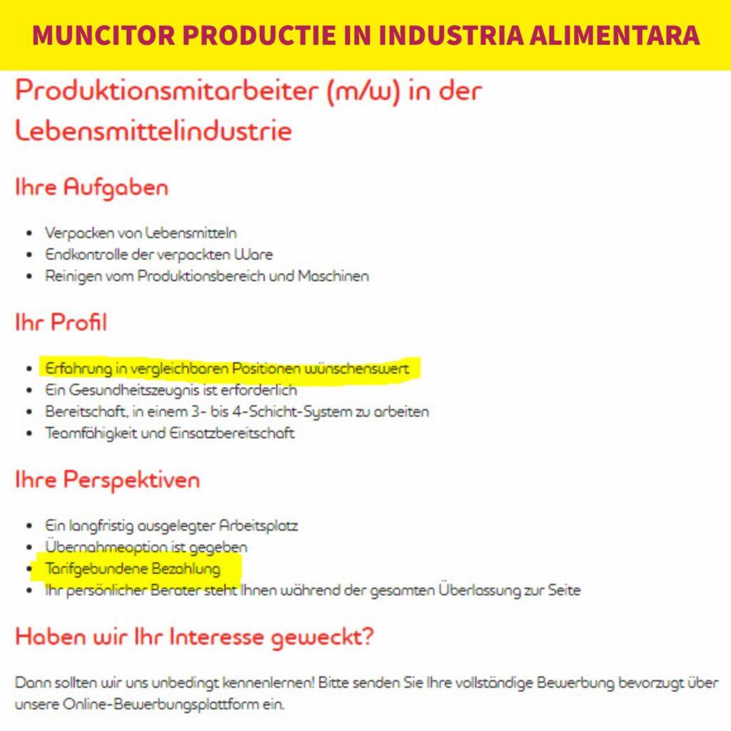 Locuri de munca in fabrici in Germania Anunt muncitor productie industria alimentara