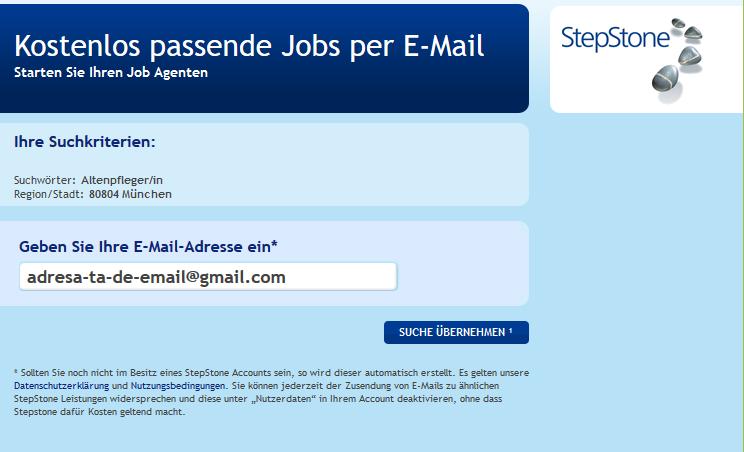 Alerta-email-Stepstone cautare locuri de munca in Germania