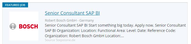 Joburi engleza Germania BOSCH Sap consultant