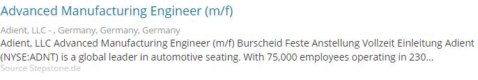 Germana-Joburi in engleza in Germania - Adient - productie