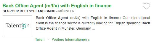 Locuri de munca in Germania in FINANTE fara germana