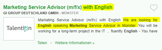 Locuri de munca in Germania in MARKETING fara limba germana
