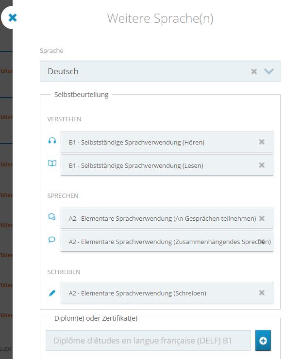 CV european in germana - limbi straine cunoscute