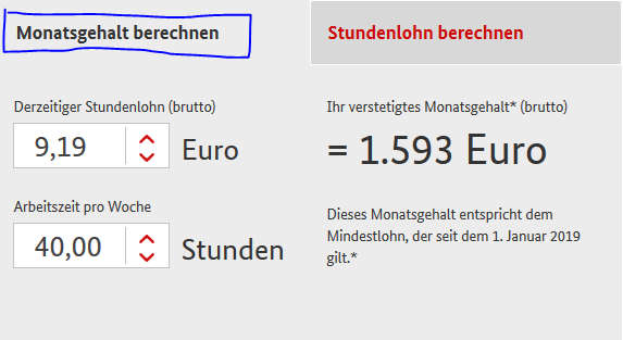 Calculator salariu minim in Germania BMAS