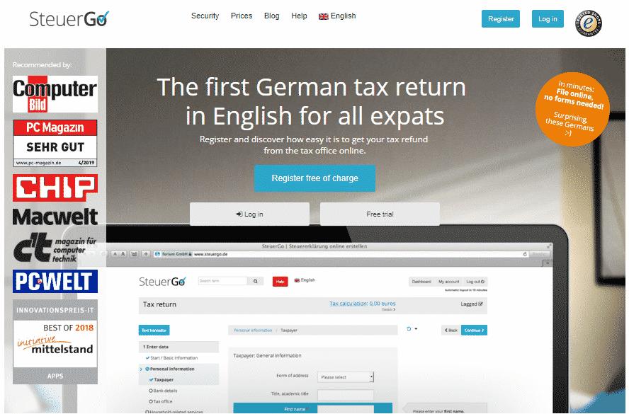 Impozit Germania - SteuerGo Completare Steuererklärung online Engleza